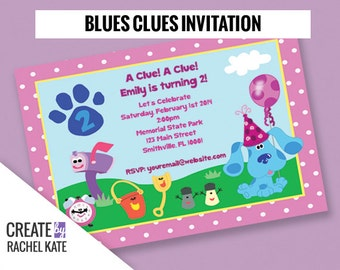 Blues Clues Birthday Party Personalized Printable Invitation Invite (Blue, Pink or Custom)