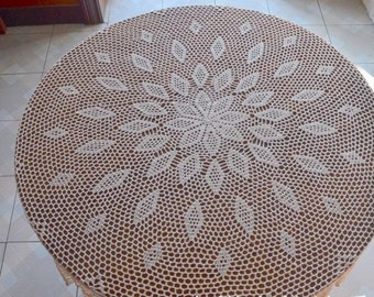 "American style 63"" Round floral tablecloth, hand crochet table cover, lace table topper for home decor ~ Nice gift for Mom"