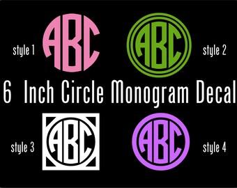 Vinyl Monogram Decal - 6 Inch Personalized Vinyl Decal - Circle Monogram Vinyl Car Window Decal -