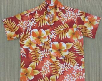 Vintage Hawaiian Shirt ISLAND FASHIONS 70s Mens Aloha Shirt Mod Flower Power Hibiscus Floral Print Beach Party - M - Oahu Lew's Shirt Shack