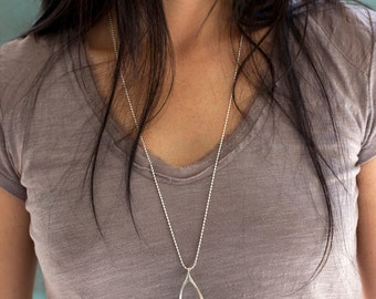 Wishbone Necklace   Large   Pendant Necklace   Sterling Silver   Gold   Rose Gold