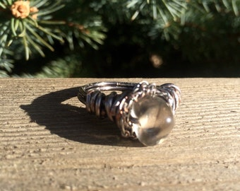 Silver Wire Wrapped Ring with Quarts Stone Bead