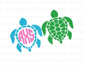 Sea Turtle Monogram SVG, Sea Turtle SVG, Sea Turtle Monogram, SVG Files, Svg, eps, Silhouette Files, Cricut Files