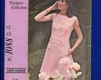 1960's McCall's 1088  Designer Larry Aldrich Jackie Kennedy A-Line Dress Size 10