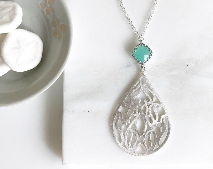 Long Silver Necklace. Long Aqua Necklace. Silver Teardrop Pendant Necklace. Boho Jewerly, Aqua Stone and Silver Teardrop Necklace. Gift.