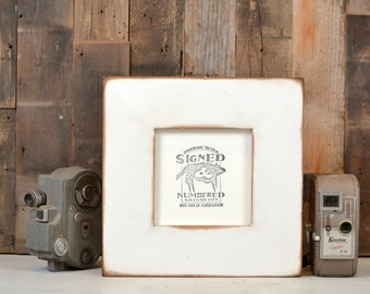 "5x5"" Picture Frame in 2.5"" Wide Style  with Super Vintage White Finish - IN STOCK - Same Day Shipping - 5 x 5 Gift Frame White Alder"