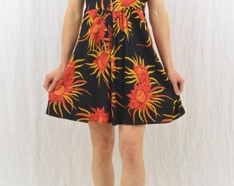 Vintage Floral Babydoll Dress, Size Medium, 90's Clothing, Summer Dress, Grunge, Tumblr Clothing, Tropical Dress, Orange