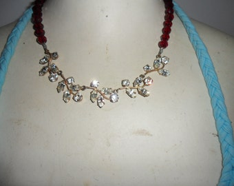 Authentic Vintage Stunning Rhinestone Necklace and Deep Red Crystal Necklace