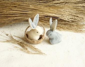 Couple Tiny Bunnies Soft Miniature Rabbits With a Basket HandMade