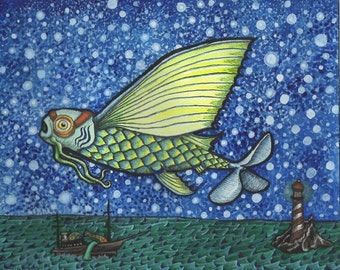 Steampunk Flying Fish In Night Sky Above Ocean - Art Print - Watercolor Painting