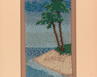 Palm Tree Decor Tropical Wall Art Beadwork Hand Beaded Tapestry Beach Lover Handmade Art