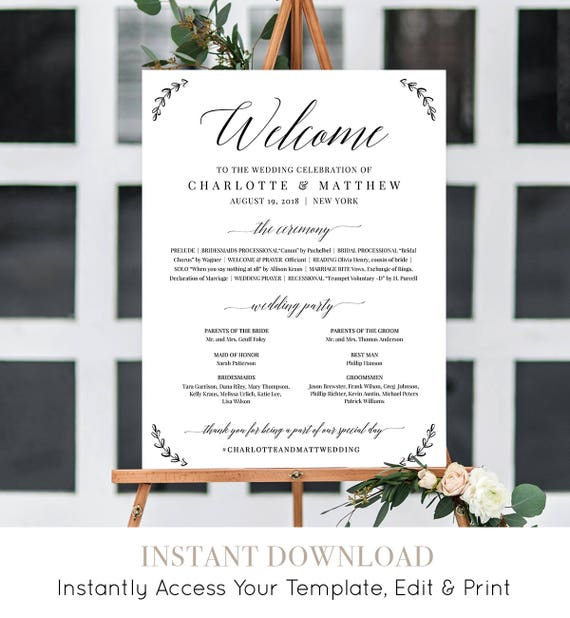 Welcome Sign, Wedding Program Sign, Order of Service, 100% Editable Template, Ceremony Poster, Instant Download, DIY, Templett #034-104LS