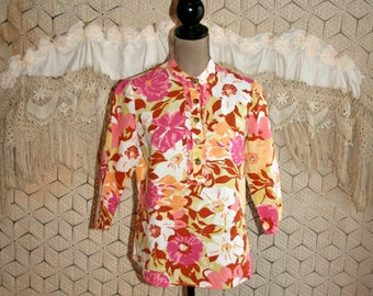 Linen Tunic Top Floral Print Blouse Womens Shirt Casual Hippie 3/4 Sleeve Spring Summer Peach Yellow Pink Collarless Small Womens Clothing