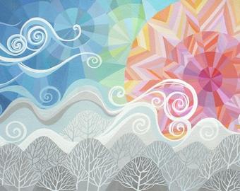 Still I Rise art print, geometric art, sunrise over mountains and trees, fresh breeze
