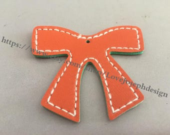 10 Pieces /Lot orange 55mmx46mm fuax leather bowknot charms (#0194)