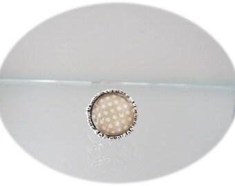 Vintage beige fancy polka dot ring