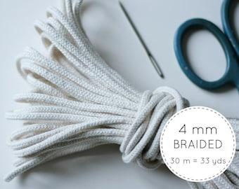 Macrame Cotton Cord (4mm) 30 meters - 4mm Macrame Cord - Natural Cotton Cord - Braided Macrame Rope - Braided Cotton Rope - Macrame Supplies