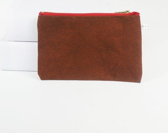 leather zip pouch, make up bag, pencil case, bag organizer in brown textured leather