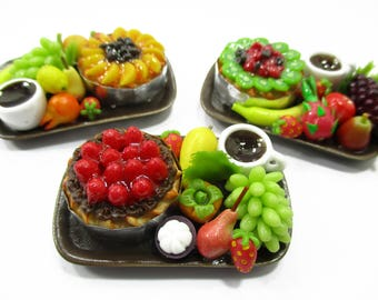 Dolls House Miniatures Food 1:12 Fruit Cake Coffee Fruit  3 Ceramic Plates Supply Charms 13946