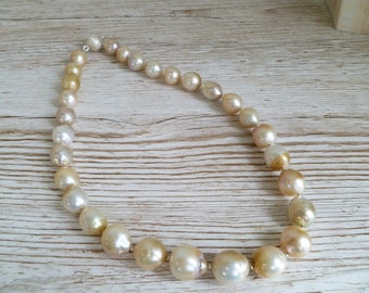 Nucleated Pearl Necklace Natural Fresh Water Pearls 925 Sterling Silver UK Made