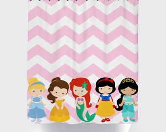 princess shower curtain, customized characters, high quality fabric shower curtain, pink and white chevron background shower curtains