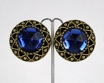 Sapphire Blue Statement Earrings - Vintage 1980s Gold and Blue Clip Ons