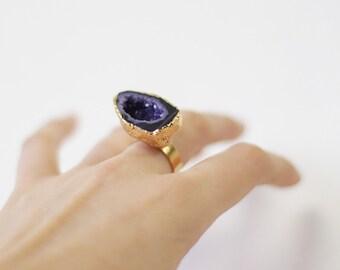 Vintage purple druzy agate stone large oversize statement gold tone ring
