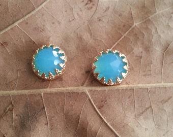 Golden Stud Earrings, Aqua Qurtz, Qurtz Gemstone, Post Earrings