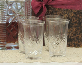 Cut Glass Whiskey Glasses, Set of Four Crystal Tumblers, Tall Whiskey Glasses, Vintage Barware
