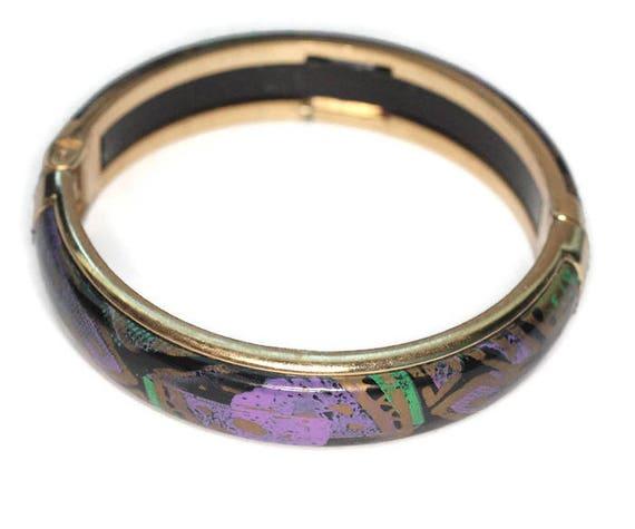 Purple Gold Teal Enameled Bangle Bracelet Hinged Abstract Design Vintage