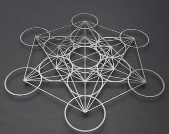 Metatron's Cube Metal Wall Art, Sacred Geometry Decor, Large Metal Wall Sculpture, Contemporary Metal Wall Art, Loft Wall Art, Silver Art