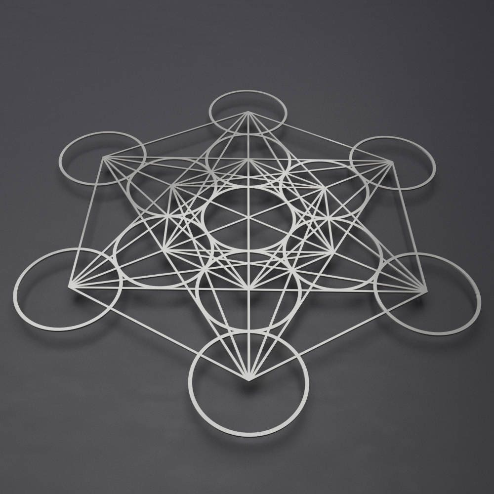 Metatrons Cube Metal Wall Art Sacred Geometry Decor Large Metal