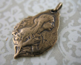 Religious Medal Saint Bernadette Bronze Jewelry Supplies Bronze Charms Pendants
