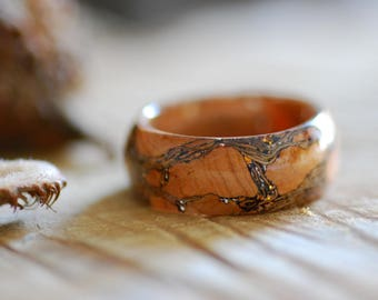 Cork Bark Ring, Men Ring, Wide Eco Statement Resin ring, Wooden Ring, Mens Wedding band, Rustic Ring, Mens Engagement Ring, Anniversary Gift
