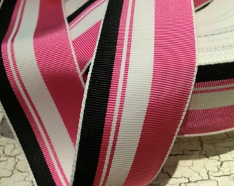 """3 yards 1.5"""" Preppy Acetate Multicolored Black White and Pink Stripe Grosgrain Ribbon sold by the yard"""