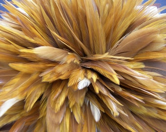 Natural Red Rooster Feathers Top Stitched, 3 INCH Strip
