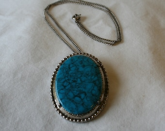 Vintage Turquoise Pendant, Necklace or Pin