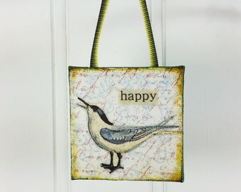 Happy Bird Ornament, Whimsical Sea Gull Word Art Mini Wall Hanging Waterbird