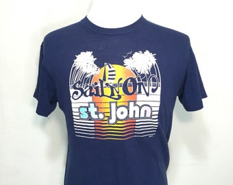 80's sailing t shirt 100% cotton blend navy blue