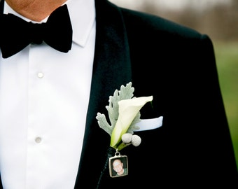 Boutonniere Charm Boutonniere Photo Pin Wedding Boutonniere Memorial Charm Custom Photo Keepsake Groom