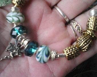 Gold and Fairy, smaller size bangle, Euro style bracelet