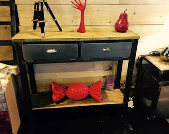 Industrial furniture solid oak console