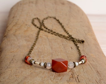 Carnelian Necklace, long necklace, gift for her, natural stone necklace, boho
