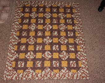 Churn Dash Quilt , Throw Quilt, Lap Quilt , Brown Quilt, Gold , Floral, Paisley , Handmade Quilt  READY TO SHIP!!!