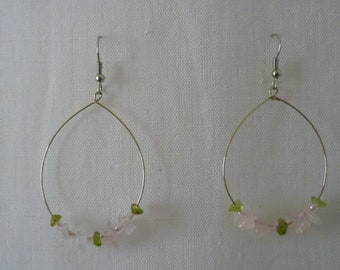 rose quartz and peridot oval Stud Earrings