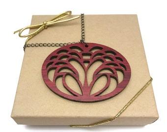 Padauk Wood Flower Necklace, Laser Cut Necklace, Gunmetal Chain
