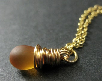 Clouded Amber Necklace. Teardrop Pendant Necklace Wire Wrapped in Gold. Bridesmaid Jewelry. Handmade Necklace.