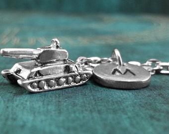 Tank Necklace, Personalized Necklace, Tank Pendant, Custom Necklace, Monogram Necklace Tank Charm Necklace, War Necklace, War Gift Tank Gift