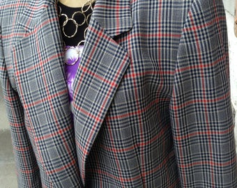 Vintage hipster 80s Pendelton ladies red and blue plaid blazer size 16 free domestic shipping