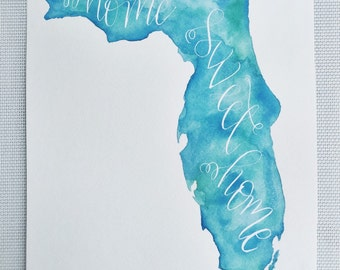 CUSTOM Home Sweet Home state watercolor painting